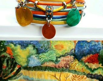 """Multicolored """"Gauguin 3"""" leather Cuff Bracelet"""