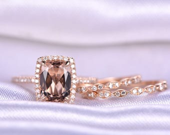 Wedding Ring Set Morganite Engagement Ring 7x9mm Cushion Cut VS Morganite Art Deco Diamond Wedding Bands 14k Rose Gold Bridal Ring Set