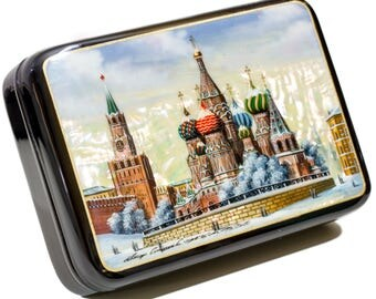 """Russian Fedoskino Lacquer Box - MEDIUM SIZE - """"Winter Moscow."""" - Hand Painted in Russia - Collectible Art Quality"""