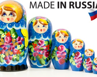 "Russian Nesting Doll - BIG SIZE - 7 dolls in 1 - Russian ""Polkhov Maidan"" Traditional - Hand Painted in Russia"