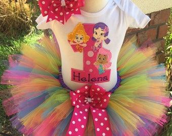 bubble guppies birthday tutu outfit dress set handmade 1st 2nd 3rd in bright colors