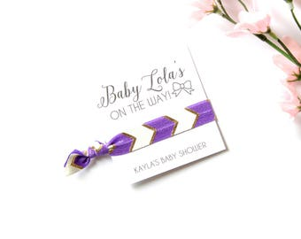Baby Shower Personalized Hair Tie Favor | Custom Baby Shower Favor | Baby On The Way | Baby Shower | Purple | Chevron