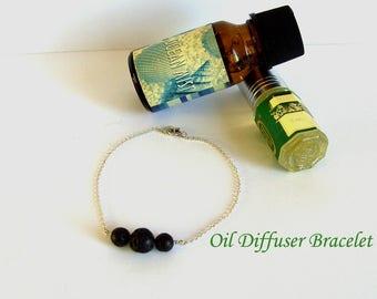 Black Lava Bracelet, Essential Oil Diffuser Bracelet, Aromatherapy Bracelet, Perfume Diffuser Jewel, Minimalist Lava Rock Bracelet