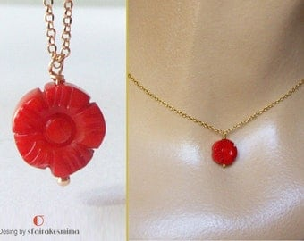 Red Coral Carved Flower Necklace, Single Coral Necklace, Coral Flower Pendant, Sterling Silver Red Coral, Gold Coral Necklace, unique coral