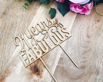 CLEARANCE! 1 ONLY Timber 21 years of Fabulous Cake Topper 21st Birthday Cake Topper Cake Decoration Cake Decorating Birthday Cakes 21 Cake T