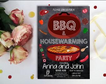BBQ Housewarming Invitation, New house invite, Moving Invitations, Backyard Barbecue Housewarming Party, Chalkboard, Printable digital,