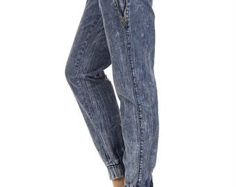 Acid Wash Jogger Pants Denim Look Jeans Looking Sweatpants - Jeans Sweatpants - M