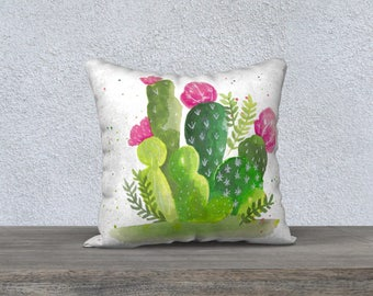 """Cactus watercolor"" pillow cover"
