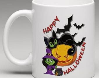 Happy Halloween Witch Cat Pumpkin  - Novelty Mug