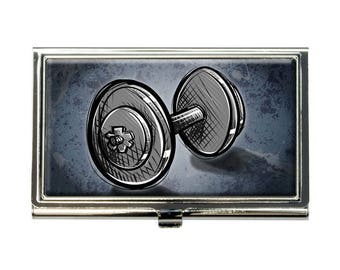Weight Lifting Dumbbells Business Credit Card Holder Case