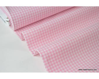 Gingham checkered 100% cotton pink and white x50cm