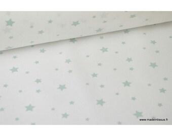 Printed cotton Celadon white stars