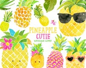 Pineapple Cutie Watercolor Clipart - Watercolor Clip Art - Pineapple Clipart -  Summer Clip Art - Clipart - Watercolor - Fruit - Pineapples