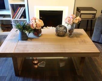 Oak coffee table with glass shelve