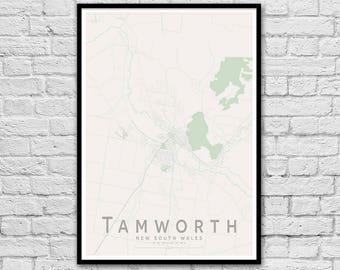 Tamworth NSW City Street Map Print | Wall Art Poster | Wall decor | A3 A2