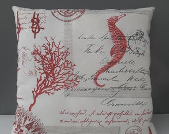 Seahorse square cushion