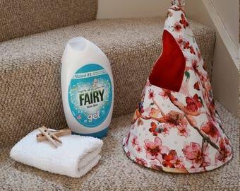 Cherry Blossom and bird peg bag, laundry pin holder, conical peg bag