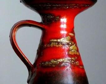 Vintage 60s CARSTENS ATELIER Gerda Heuckeroth Candle Holder German Fat Lava Vase