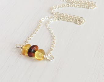 Baltic Amber Necklace, Real Amber Necklace, Genuine Amber, Natural Amber Necklace, Gift For Her, Bar Necklace Bead, Nature Inspired Jewelry