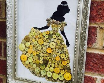 Disney princess button art. Belle. Beauty and the Beast. Handmade wall art. Recycled art. Personalised gifts. Disney art Framed princess art