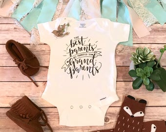 Pregnancy Announcement Onesie®,Pregnancy Reveal to Parents,Best Parents get Promoted to Grandparents Onesie,Pregnancy Reveal to Grandparents