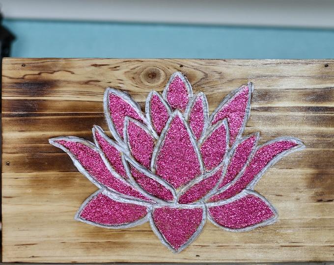 Handcarved Magenta Glitter Lotus Flower Wood Wall Hanging