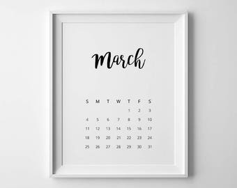 Wall Calendar 2018, Desk Calendar 2018, Printable Calendar, PDF Calendar, 2018 Calendar, Hand Lettering Calendar