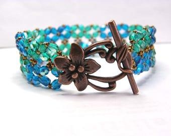 Cuff Bracelet Bohemian blue Pacific Emerald 19.5 cm copper plated flower clasp