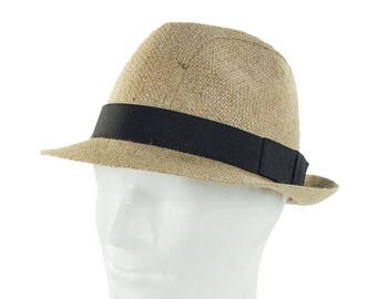 """Upcycling Hat Trilby hat """"Café Corretto"""" from coffee sack - motif """"plain""""(Blanco) (size: 58 cm) """""""
