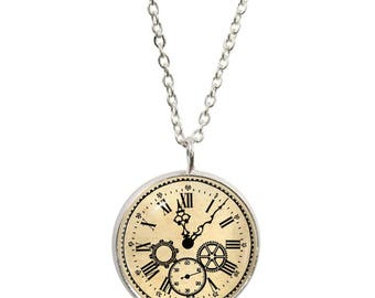Vintage Clock Pendant and Silver Plated Necklace