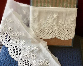 White Cotton Lace Trim, Cotton Eyelet Lace Trim, Lace Trim, White Cotton, Scalloped Border Lace, Sewing Supplies
