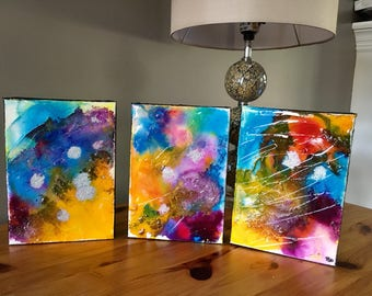 Vivacious - Triptych painting on gallery canvas, modern art, fine art, home decor, wall art, abstract painting, mini abstract painting