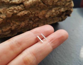 7 mm Sterling silver bar earrings - Silver bar post earrings - Tiny bar earrings - Square bar earrings - Minimal earrings
