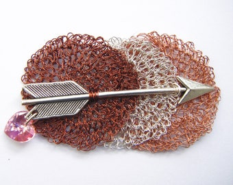 Three colors crocheted copper wire brooch