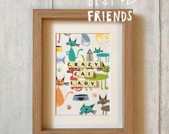 Cats kittens scrabble wall art: cat lover gift, cat lover fabric art, cat lover wall art, cat wall decals. Personalised
