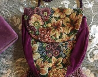 Tapestry and Velvet Cross Body Purse, Vintage Cross Body Purple Bag