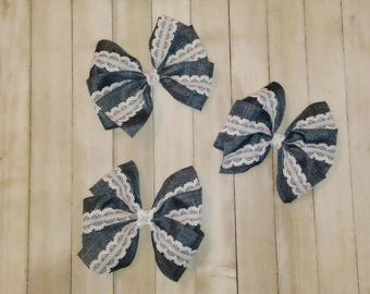 Denim and Lace Hairbow; Denim and Lace Hair Accessory