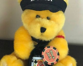 "VINTAGE*****Black Jack *Dealer* Yellow Bear*With Black Hat And Vest* 9"" Tall Sitting Down* X 8"" W At Base**"