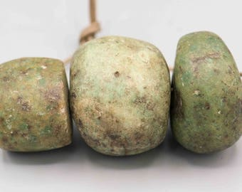 3 Ancient Excavated Amazonite Neolithic Beads 29-35mm Made in between 1000-100AD
