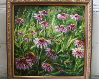 Framed Painting Flower Oil Painting Canvas Art Framed Art Original Floral Art Field Painting Coneflowers Meadow Summer Art