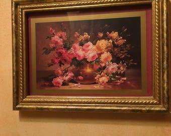 small vintage roses gold frame print