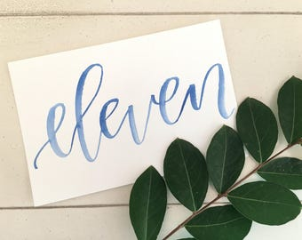 Watercolor table numbers | Wedding reception table numbers
