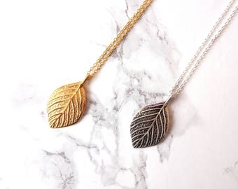 Long minimalist gold filled necklace, leaf silver necklace, long layering necklace, minimalist long necklace, simple everyday necklace