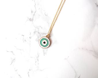 Minimalist Evil Eye Necklace, long layering necklace, bohemian medal necklace, coin pendant necklace, simple everyday talisman necklace