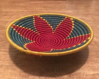 Gorgeous Red, green and gold rwandese peace basket