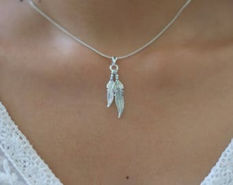 Silver Feathers Pendant, Bohemian Pendant, Silver Charm Necklace, Silver Pendant, Silver necklace, Gift Necklace, Silver Chain  (P116)
