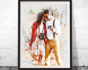 Custom Portrait, Custom Painting, Wedding Portrait, Wedding Painting, Couple Portrait, Couple Painting, MixMedia Painting – Downloadable