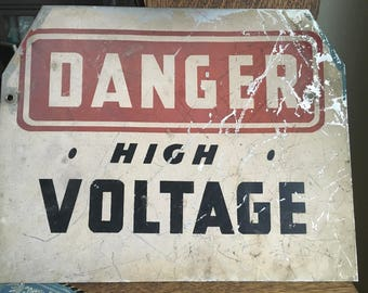 Vintage Metal Sign Danger High Voltage Distressed Industrial Steampunk Public
