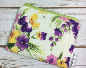 Coin Pouch, Change Purse, Purple Floral Fabric, Zipper Pouch, ID Wallet, Card Wallet, Small Pouch, Flower Fabric, Mothers Day
