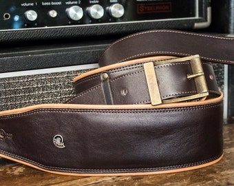 Etabeta Guitar Strap-shoulder-strap red padded leather guitar-shoulder strap low comfort-art. CADILLAC Brown-Made in Italy